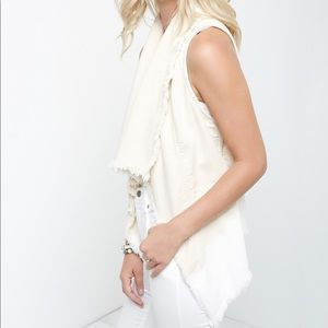 Frayed Drape Vest in Natural NWOT